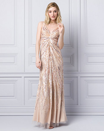 Sequin & Tulle V-Neck Gown