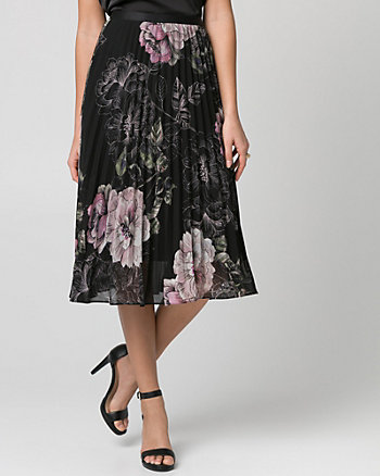 Floral Print Chiffon Pleated Skirt