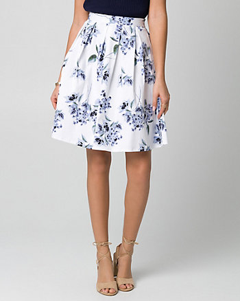 Floral Print Cotton Sateen Full Skirt