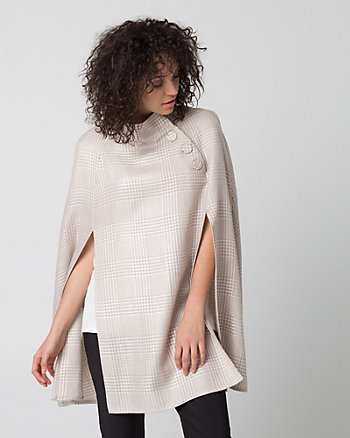 Check Print Wool Blend Funnel Neck Poncho