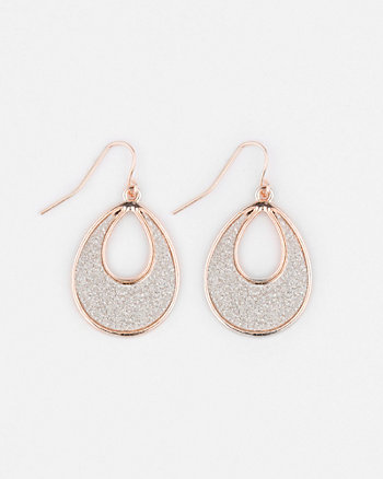 Glitter Open Teardrop Earrings