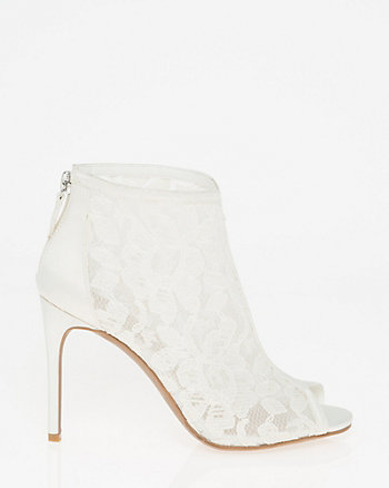 Lace & Satin Peep Toe Shootie