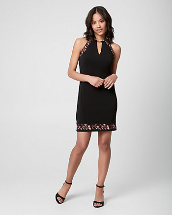 Embroidered Knit Halter Tunic Dress