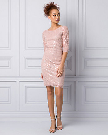 Embroidered Sequin & Mesh Boat Neck Dress