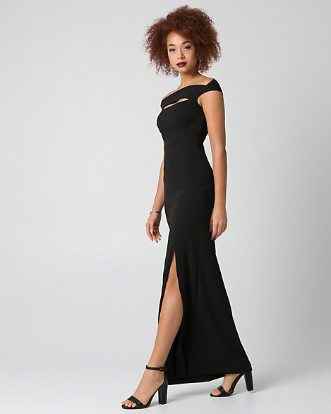 LE CHÂTEAU: Knit Crêpe Off-the-Shoulder Gown