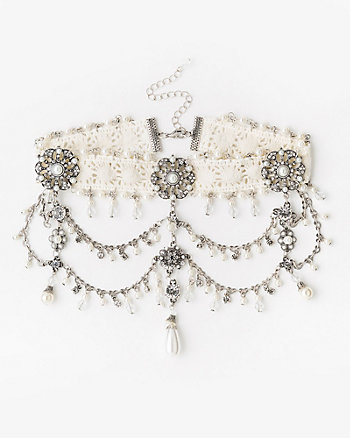 Gem & Pearl-Like Lace Choker Necklace