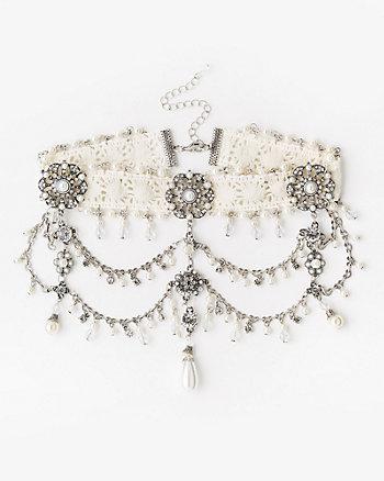 Gem & Pearl-Like Lace Choker Necklace