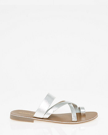 Leather Asymmetrical Slide Sandal