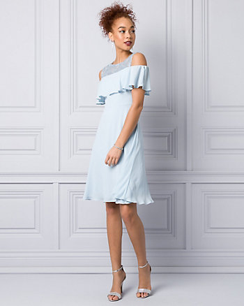 Embroidered Lace & Crêpe Cocktail Dress