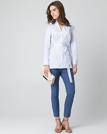 Stripe Stretch Poplin Button-Front Blouse