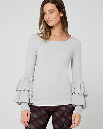 Brushed Viscose Ruffle Sweater