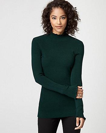 Viscose Blend Mock Neck Sweater