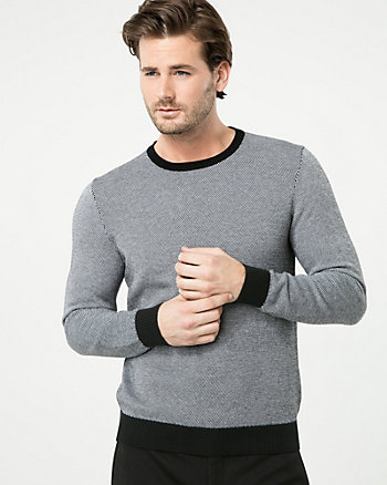 Birdseye Cotton Crew Neck Sweater