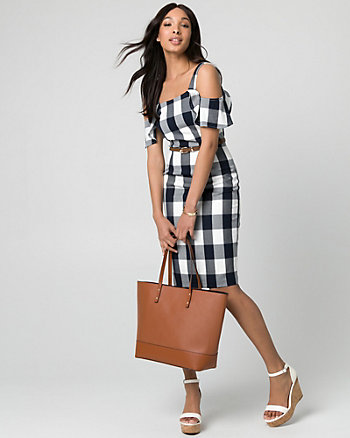 Gingham Viscose Blend Cold Shoulder Dress