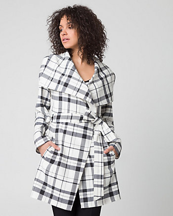 Check Print Double Weave Wrap Coat