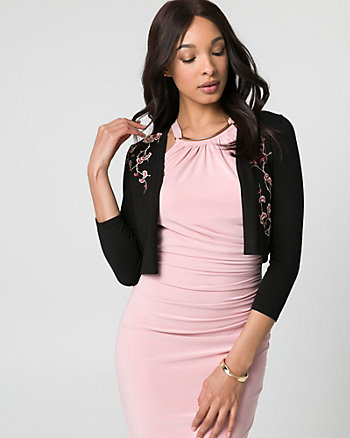 Embroidered Viscose Blend Open-Front Shrug