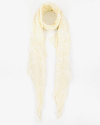 Embroidered Viscose Blend Lightweight Scarf