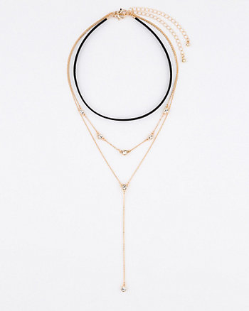 Leather-Like Choker & Gem Y-Necklace