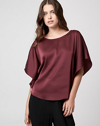 Satin Boat Neck Poncho Blouse