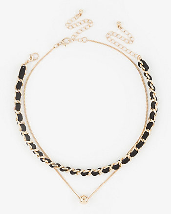 Suede-Like Chain Link Choker & Necklace