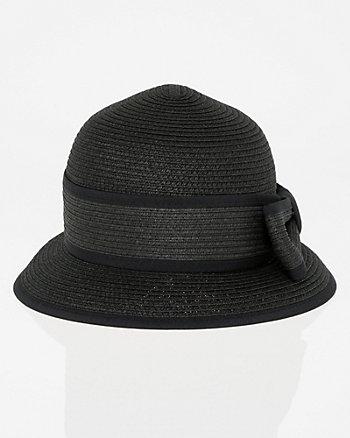 Two-Tone Woven Cloche Hat