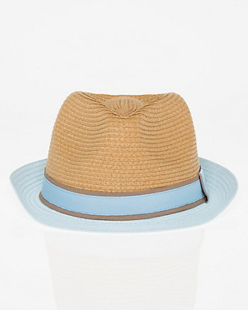 Two-Tone Woven Fedora Hat