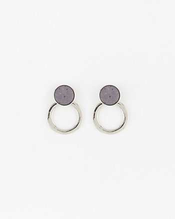 Metal Circle & Stone Earrings