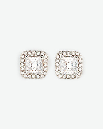 Cubic Zirconia Gem Stud Earrings