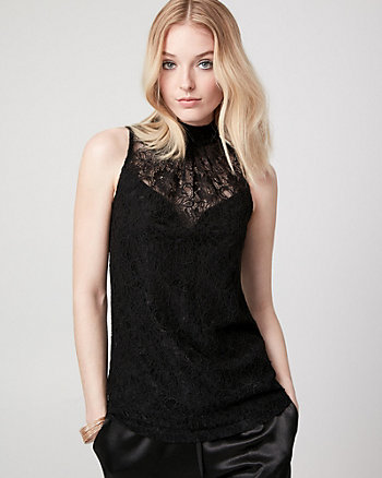 Lace & Jersey Mock Neck Top