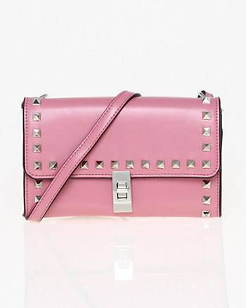 Studded Leather-Like Flapover Clutch