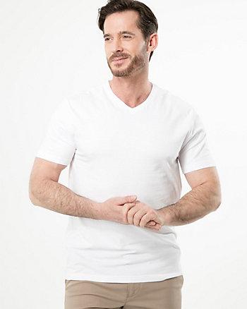 T-shirt à encolure en V en mélange de coton