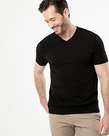 Cotton Blend V-Neck T-Shirt