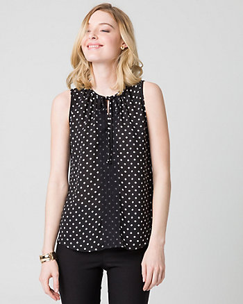 Dot Print Crêpe de Chine Crew Neck Blouse