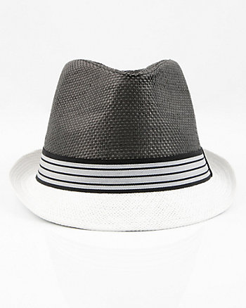 Colour-Block Straw Fedora Hat