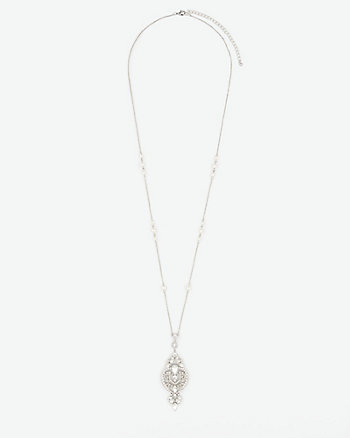 Gem & Pearl-Like Pendant Necklace