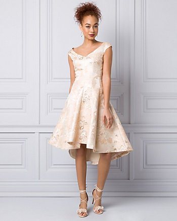 Jacquard V-Neck Cocktail Dress