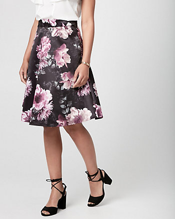 Floral Print Satin Full Skirt