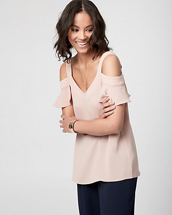 Crêpe de Chine Cold Shoulder Blouse