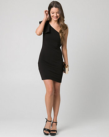 Textured Knit One Shoulder Dress