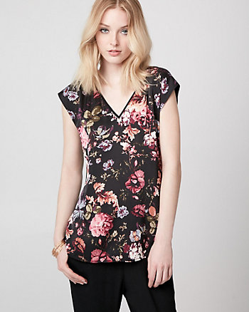 Floral Print Satin & Jersey V-Neck Top