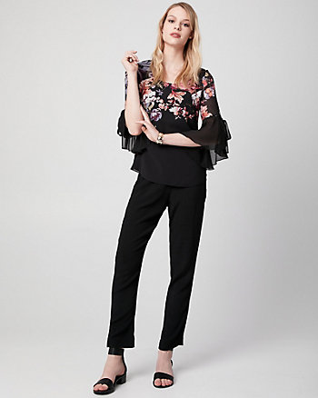 Floral Print Chiffon Scoop Neck Blouse