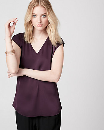 Satin & Jersey V-Neck Top
