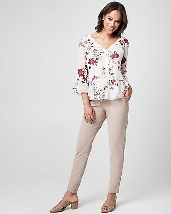 Floral Print Chiffon & Lace Ruffle Blouse