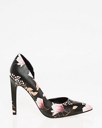 Floral Print Half d'Orsay Pointy Toe Pump