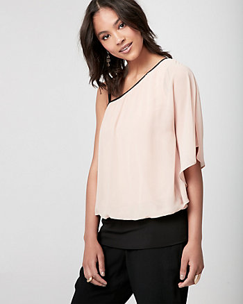 Chiffon One Shoulder Poncho Top