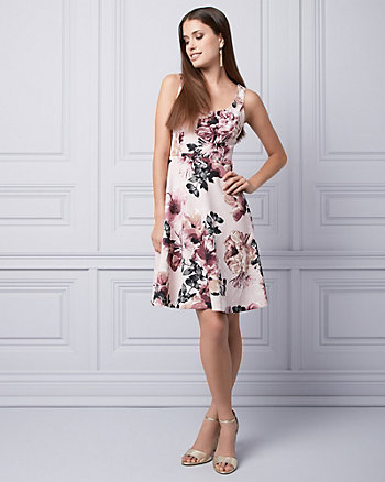Floral Print Scuba Knit Scoop Neck Dress