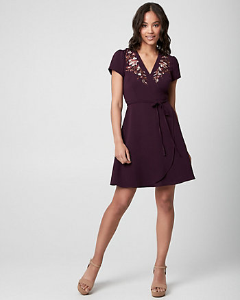Embroidered Knit Wrap-Like Dress