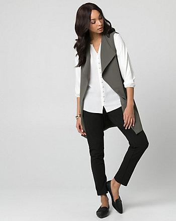 Crêpe Open-Front Ruched Vest