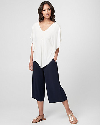 Jersey V-Neck Poncho Top