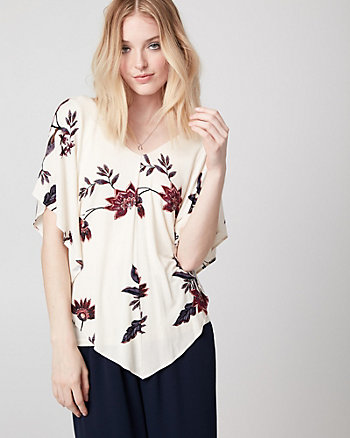 Floral Print Jersey V-Neck Poncho Top